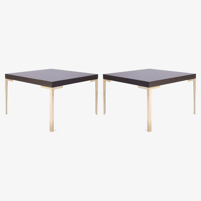 Mid-Century Modern Astor Brass Occasional Tables in Walnut by Montage, Pair For Sale - Image 3 of 5