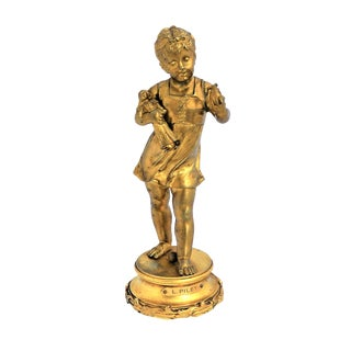 French Gilt Bronze Girl Figurine For Sale