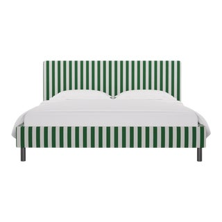 California King Tailored Platform Bed in Emerald Cabana Stripe For Sale