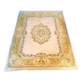 Large Vintage Ivory Wool Area Rug - 9′10″ × 13′10″