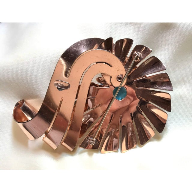 1940s Vintage Rose-Gold Plated Sterling Brooch For Sale In Los Angeles - Image 6 of 8