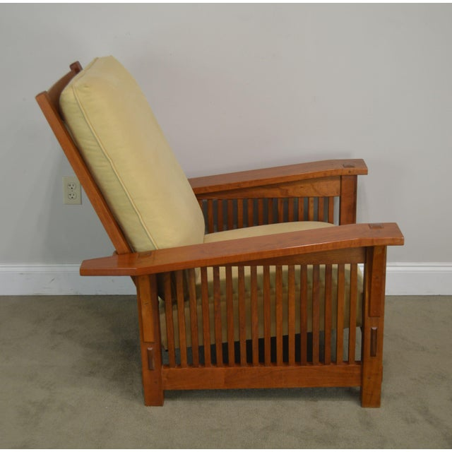 2000 - 2009 Stickley Mission Collection Cherry Bustle Back Spindle Morris Chair W/ Ottoman For Sale - Image 5 of 13