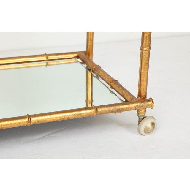 1960s Italian Gilt Iron Stylized Bamboo Serving / Bar Cart For Sale - Image 5 of 11