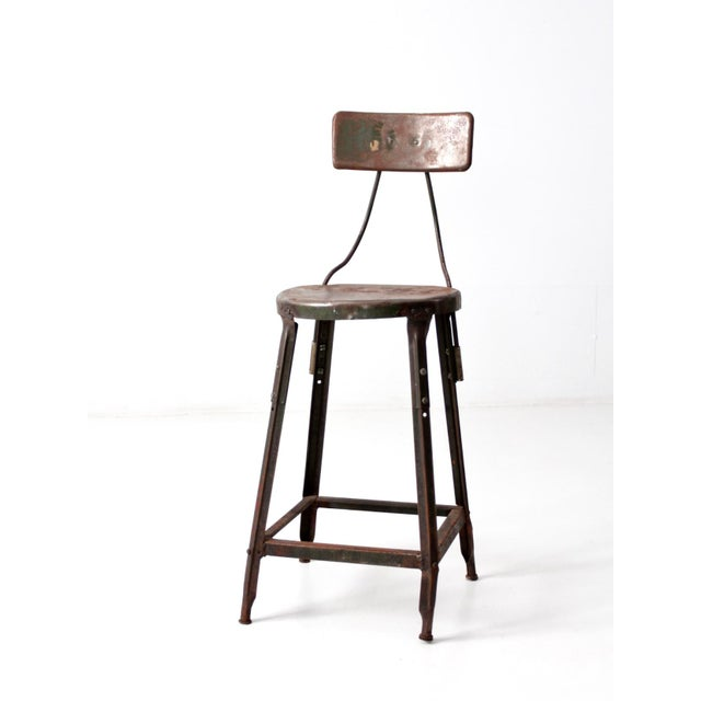 Vintage Industrial Drafting Stool For Sale - Image 10 of 10