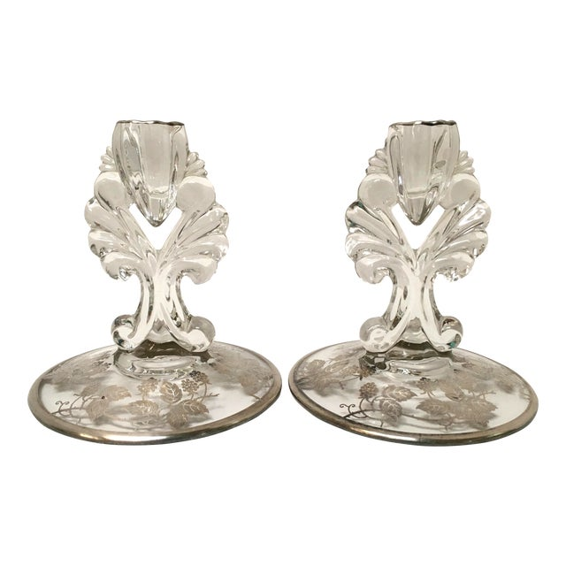 Art Deco Silver Glass Candle Holders - PaiR - Image 1 of 8