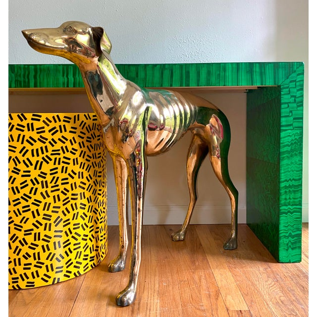 1970s Life Size Vintage Brass Whippet Dog Statue For Sale - Image 5 of 9