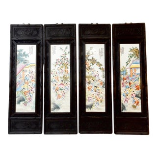 Famille Rose Porcelain Hundred Boys Panels - Set of 4 For Sale