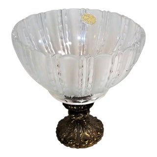 Bohemia Glass Bowl on Marble Base With Metal Pedistal, Czech Made For Sale
