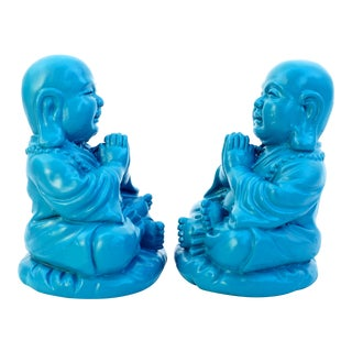 Turquoise Happy Buddhas Bookends - A Pair