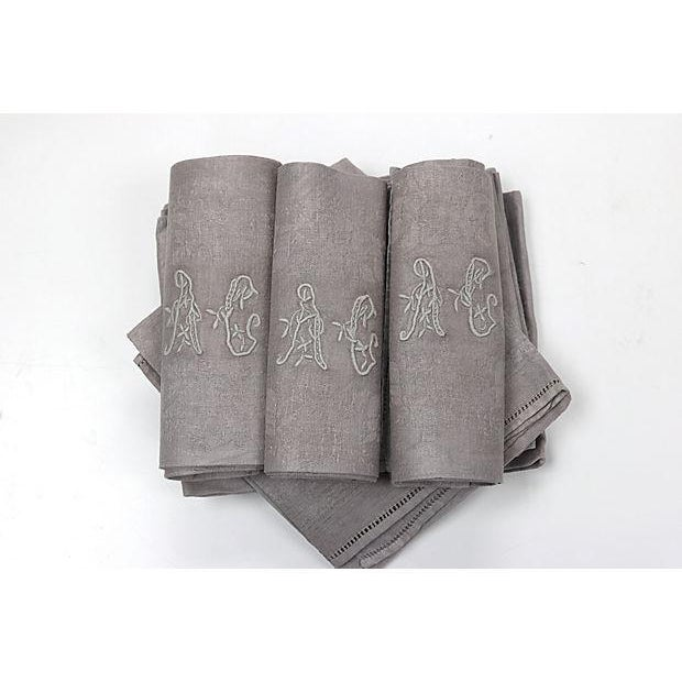 Antique French Dinner Napkins - Set of 10 For Sale - Image 4 of 4