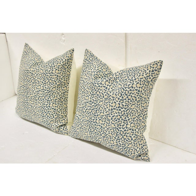 Modern Dusty Blue Linen Leopard Pillows, Pair For Sale - Image 3 of 6