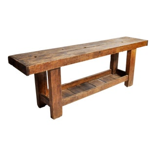 Vintage Primitive Hardwood Work Bench For Sale