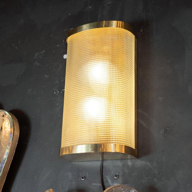 Hollywood Regency Mid-Century Modern Brass Wrapped Sconces With Rectilinear Textured Glass Shades - a Pair For Sale - Image 3 of 7
