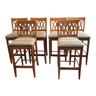 Contemporary Wood Carved Counter Stools - Set of 6 For Sale