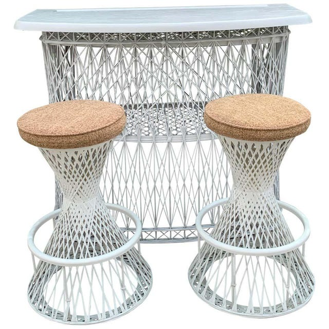 Russell Woodard Woven Fiberglass Bar and Two Stools For Sale - Image 12 of 12