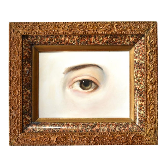 Contemporary Lover's Eye Painting by Susannah Carson in a Marbled Victorian Frame For Sale