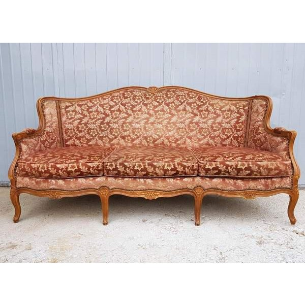 French Pink Three Piece French Antique Louis XV Style Carved Parlor Suite Sofa Canape Loveseat For Sale - Image 3 of 13