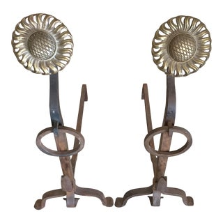 Iron and Brass Sunflower Andirons - a Pair For Sale