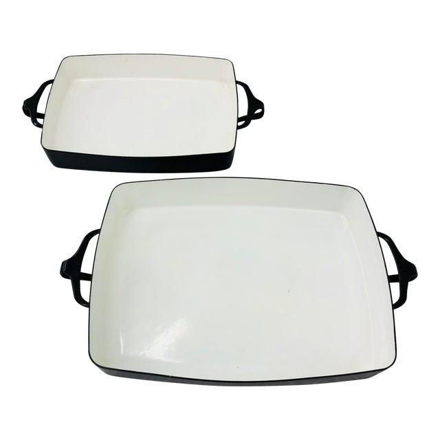 Vintage Black & White Enamel Casserole Dishes by Dansk - Set of 2 For Sale