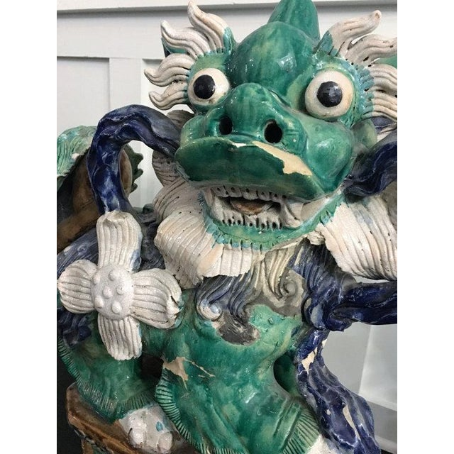 Antique Green & Blue Foo Dogs - A Pair - Image 3 of 5