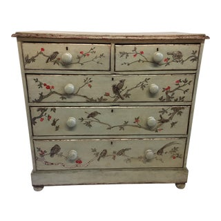 1800s English Pine Chinoiserie Green Chest For Sale
