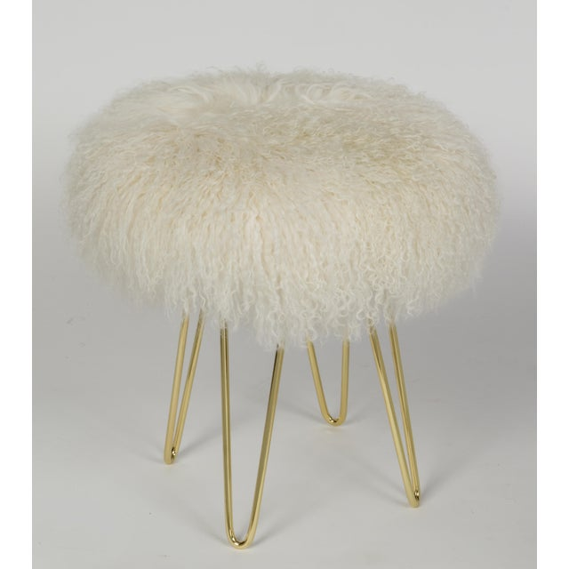 Curly Hairpin Brass Stool Warm White Made of Tibetan Lamb Please allow 4 weeks before the item ships.