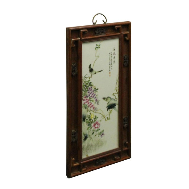 Asian Vintage Chinese Wood Frame Porcelain Flower Birds Scenery Wall Plaque Panel For Sale - Image 3 of 8