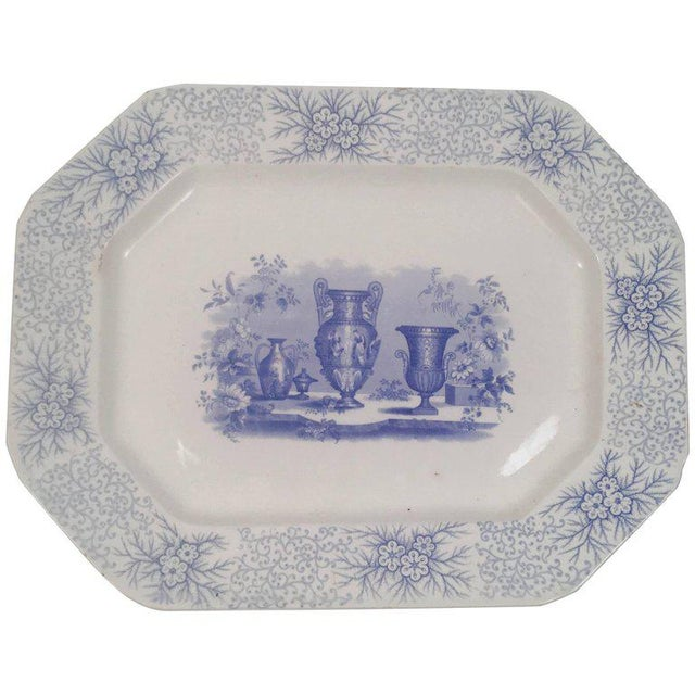 Blue and White Neoclassical Staffordshire Platter with Provenance For Sale - Image 11 of 11