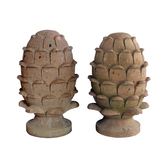1980s A robust pair of Mexican hand-carved cantera stone artichoke elements For Sale - Image 5 of 5