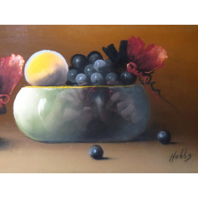 Late 19th Century Antique 19th Century Signed Still Life Fruit Bowl Pastel Painting For Sale - Image 5 of 7