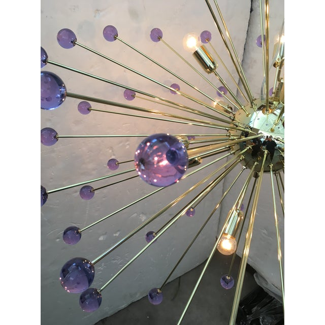 2010s Murano Glass Sputnik Metal Frame Gold Chandelier For Sale - Image 5 of 10