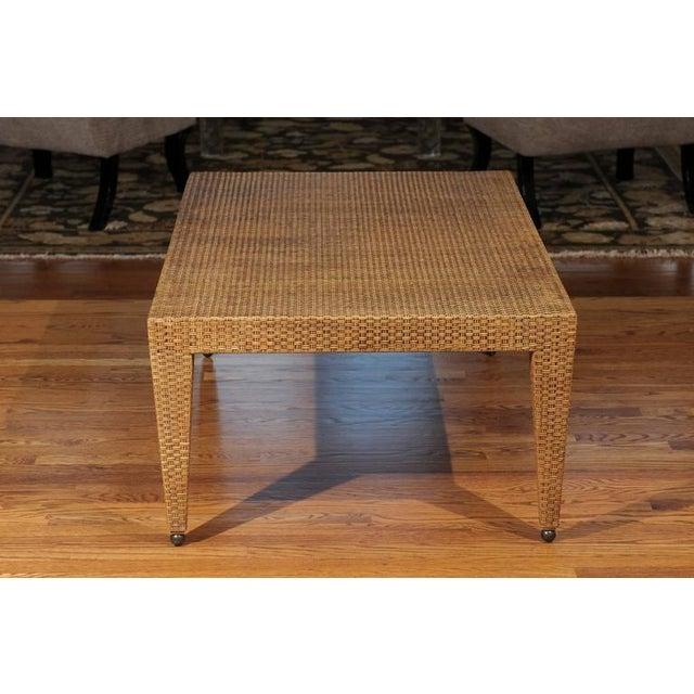 Metal Elegant Restored Vintage Raffia Coffee Table For Sale - Image 7 of 10
