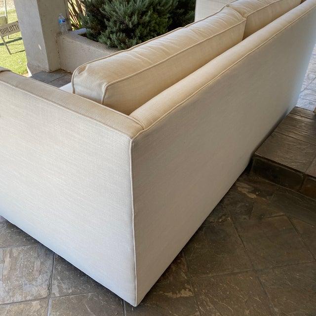 Metal New Miles Talbott Custom Landry Sofa + White Crypton Upholstery For Sale - Image 7 of 9