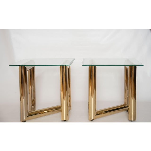 """Brass """"Z"""" Shaped End Tables - A Pair - Image 3 of 7"""