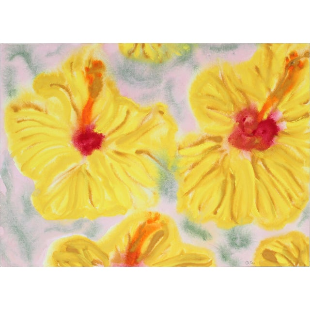 "Contemporary ""Yellow Hibiscus"" Hawaii Still Life, Ink, Watercolor and Gouache Painting on Paper For Sale - Image 3 of 5"