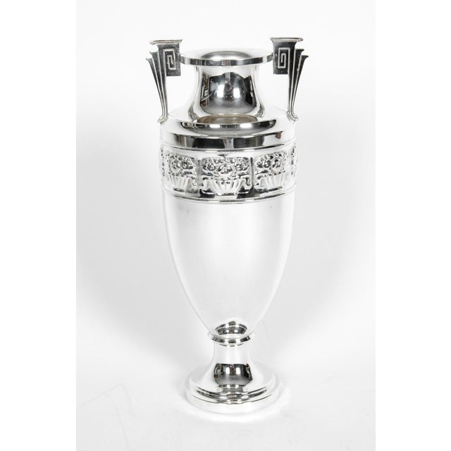 Vintage silver plate Art Deco Geek revival urn / decorative vase. The piece is in excellent condition. The vase / urn...