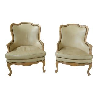 Hancock & Moore Leather French Style Arm Chairs - a Pair For Sale