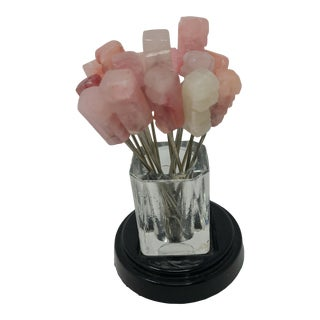 Vintage Pink Marble and Glass Cocktail Forks With Glass Holder and Glass Stand - Set of 16 Forks For Sale