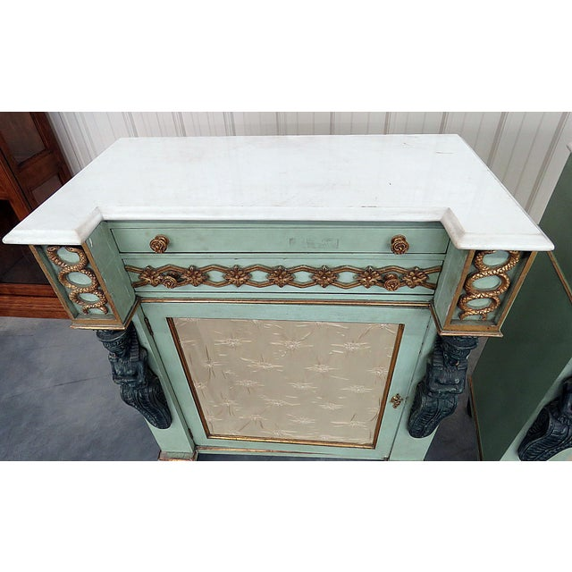 Pair of Marble Top Empire Style Commodes For Sale - Image 4 of 10