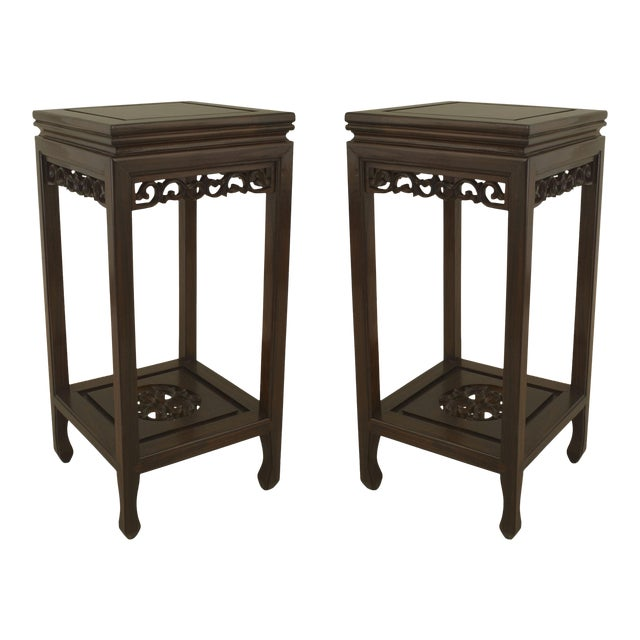 Asian Chinese Rosewood Pedestals- a Pair For Sale