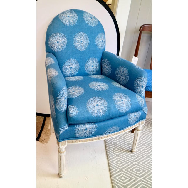 French Pair of Blue French Chairs For Sale - Image 3 of 8