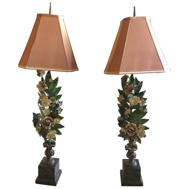 Gorgeous Pair of French Antique Tole Table Lamps With Flowers and Leaves For Sale