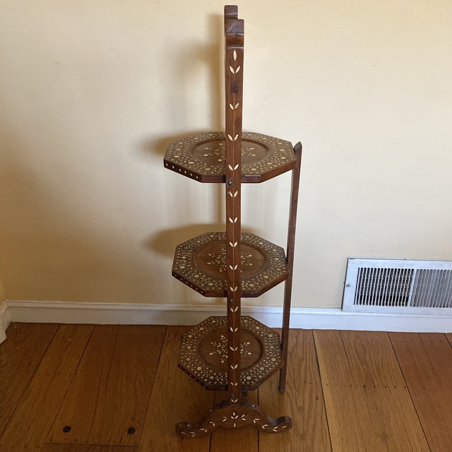 Early 20th Century Anglo Indian Bone Inlaid Cake Stand For Sale - Image 5 of 13