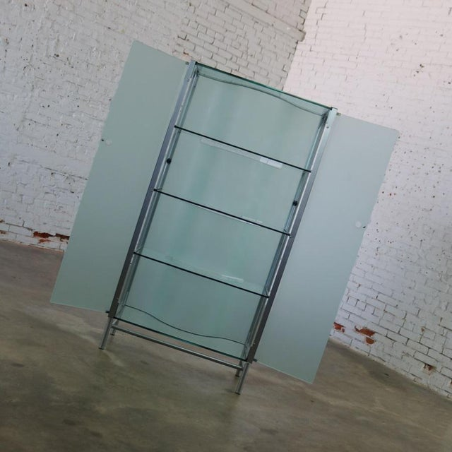 Glass Modern Dual Sided Glass and Metal Enclosed Display For Sale - Image 7 of 13