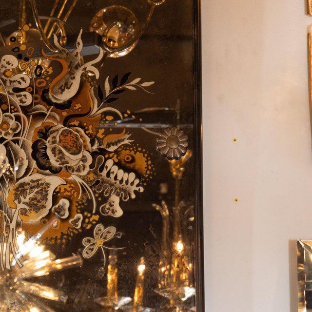 Art Deco Pair of 1940s French Églomisé & Antiqued Mirrored Panels With Bronze Details For Sale - Image 3 of 8