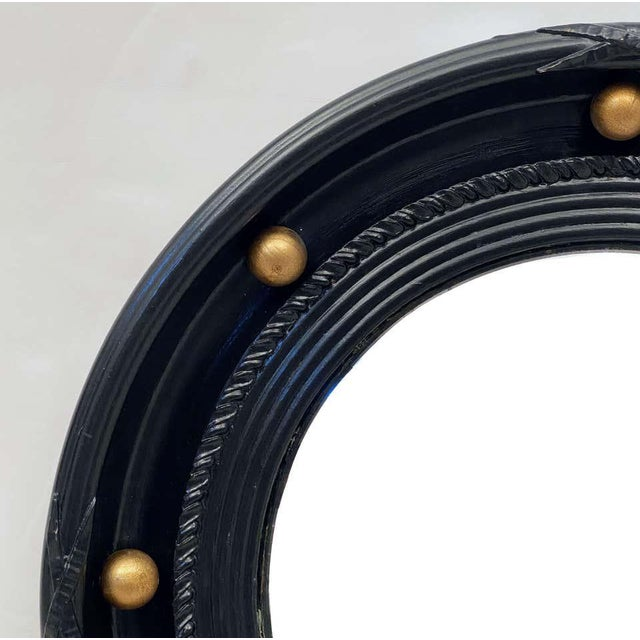 English Round Ebony Black and Gold Framed Convex Mirror For Sale In Austin - Image 6 of 13
