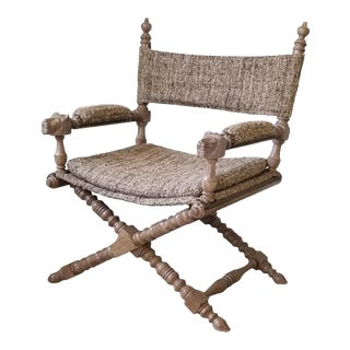 Hollywood Regency X- Base Carved Driftwood Oak Campaign Club Chair . For Sale