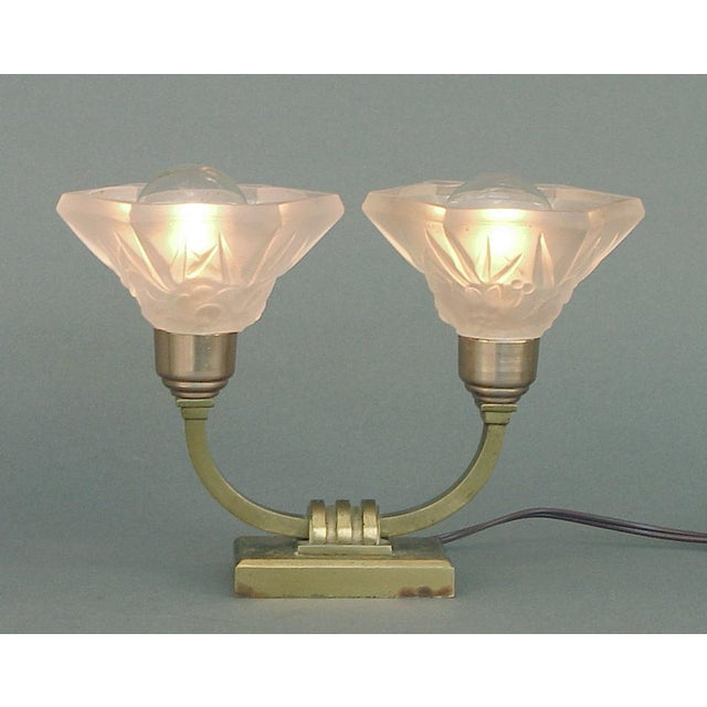 Sabino 1920s Sabino Art Deco Table Lamps With Shades by Lorrain - a Pair EU Wired For Sale - Image 4 of 8