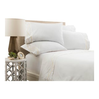 Capri Embroidered Flat Sheet Queen - Limestone For Sale