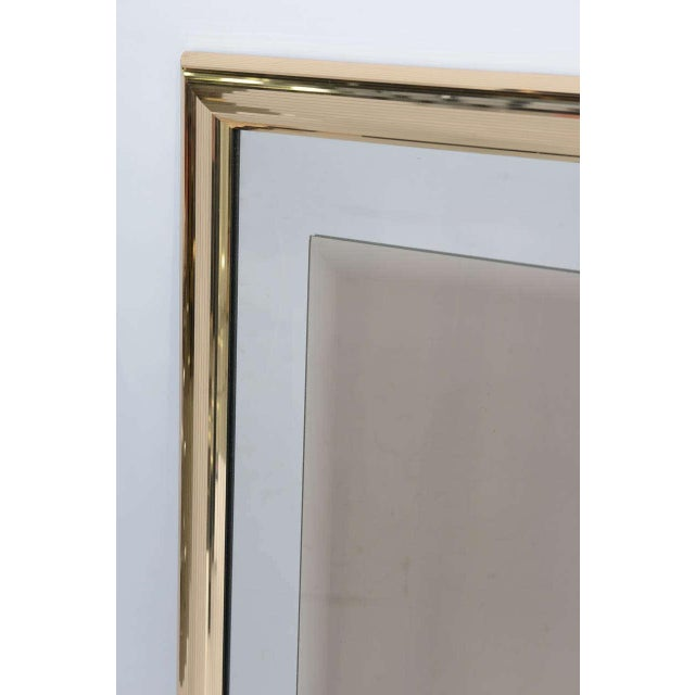 1970s Modern Faceted Brass Mirror With Center Bronze Mirror. - Image 3 of 8